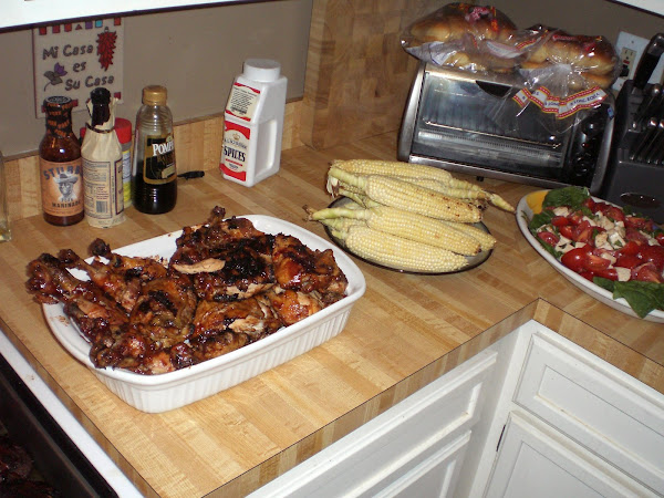 fresh corn, bbq chicken, and tomato mozz salad in summer time