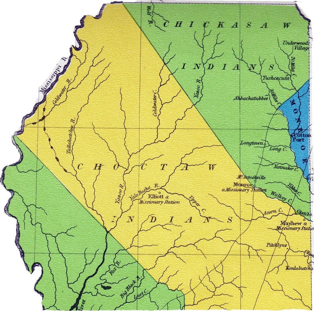 see 1822 map below that shows elliot mission out of the choctaw territory 16 counties were formed noxubee kemper lauderdale clarke oktibbeha