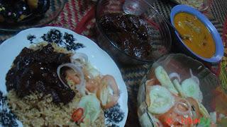 nasi briyani daging + donut