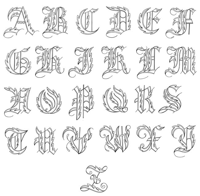 Graffiti Alphabet A-Z letters sketches by Juvenal Soto, looks like Zombie
