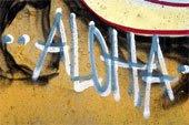aloha, graffiti alphabets