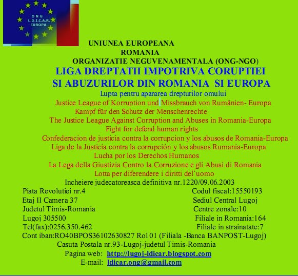 ONG - Liga Dreptatii Impotriva Coruptiei si Abuzurilor din Romania -Europa