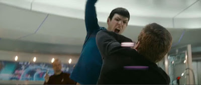 Young Spock gives 90210 Kirk an 'Amok Time'-style ass-whupping.
