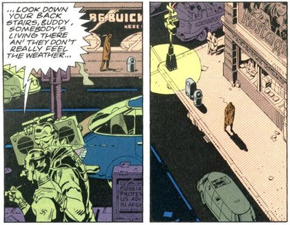Punks blast Iggy Pop in the Watchmen comic.