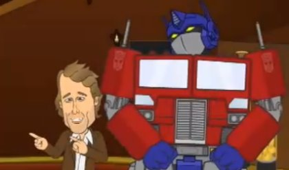 Michael Bay and Optimus Prime, from SuperNews!' Transformers spoof.