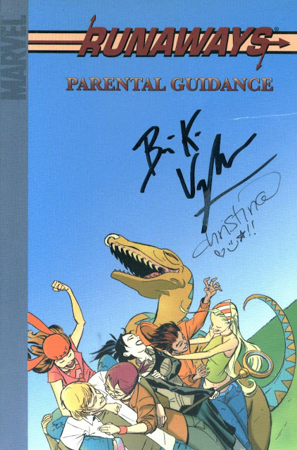 Runaways: Parental Guidance, autographed by Brian K. Vaughan and Christina Strain for Jimmy J. Aquino