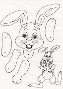 Conejo de pascua. Materiales 9 Fasteners. Fotocopia. Cartulina. Tijera. movile conejo