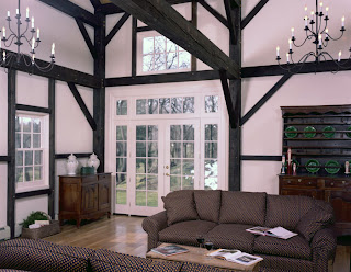 black stained timber frame
