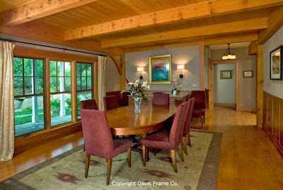 Large and open timber frame dining room