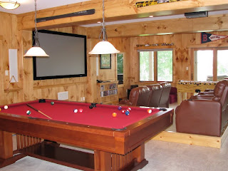 Game room with timber accents