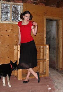 vampire goth basement black skirt red top dog husky drink pigtails @Through the Wilderness
