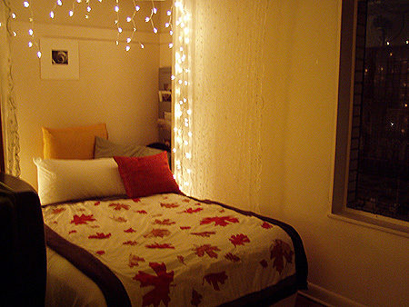 Lady greenwise reuse holiday lights year round for green decor for Young woman bedroom and string lights