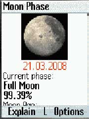 MoonPhase shows the current moon phase, and full/new moon phases on your mobile phone