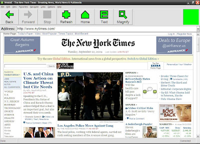 WebbIE browser when in web page mode.