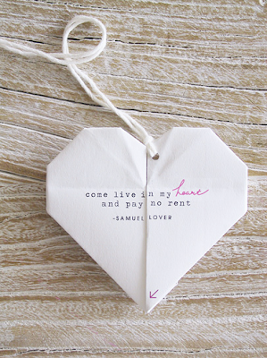 origami heart love note design crush