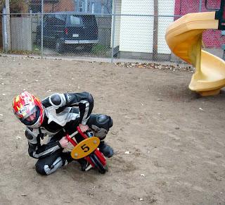 Funny act like moto gp racer