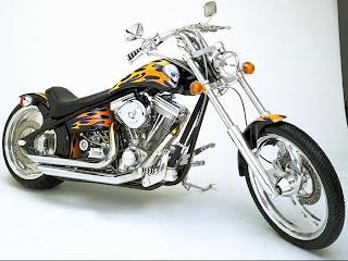 Custom motorbike Harley fire