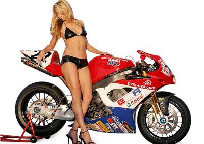 picture motorcycle with girl models is have interesting art , many