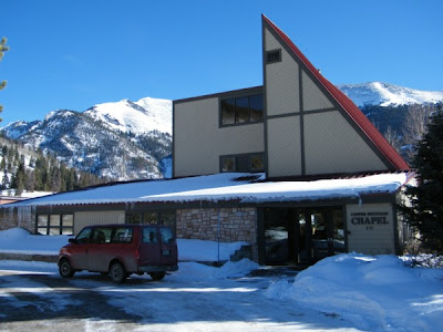 The shop van in front of the Copper Mountain Community Church