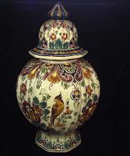 Large Velsen polychrome lidded jar