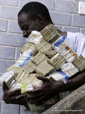 This guy is going to a supermarket. The exchange rate is 25 million Zimbabwe dollars for 1 US dollar.
