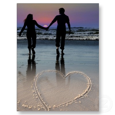Lovers Holding Hands Walking into the Beach Sunset Stickers by