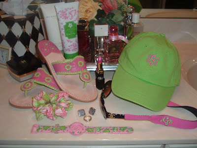 The cute pink croakies monogrammed in lime green are from ThePinkAzalea