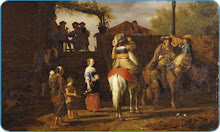 "Painting by Adriaen van de Velde (1636-1672) (""Stop at an Inn"", Museum of Fine Arts in Leipzig)."