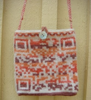 QR Code knitted glove and bag idea. 2