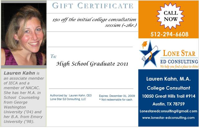 Gift Certificate from LSEDC
