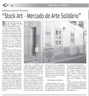 """""""Stock Art - Mercado de Arte Solidário"""" na Comunicação Social"""