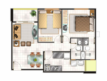 Arquitectura planos medidas fachadas y cortes for Apartamentos pequenos planos