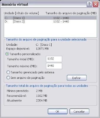Melhorar memória virtual do windows XP