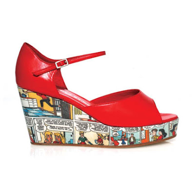 red cartoon wedges shoes heels