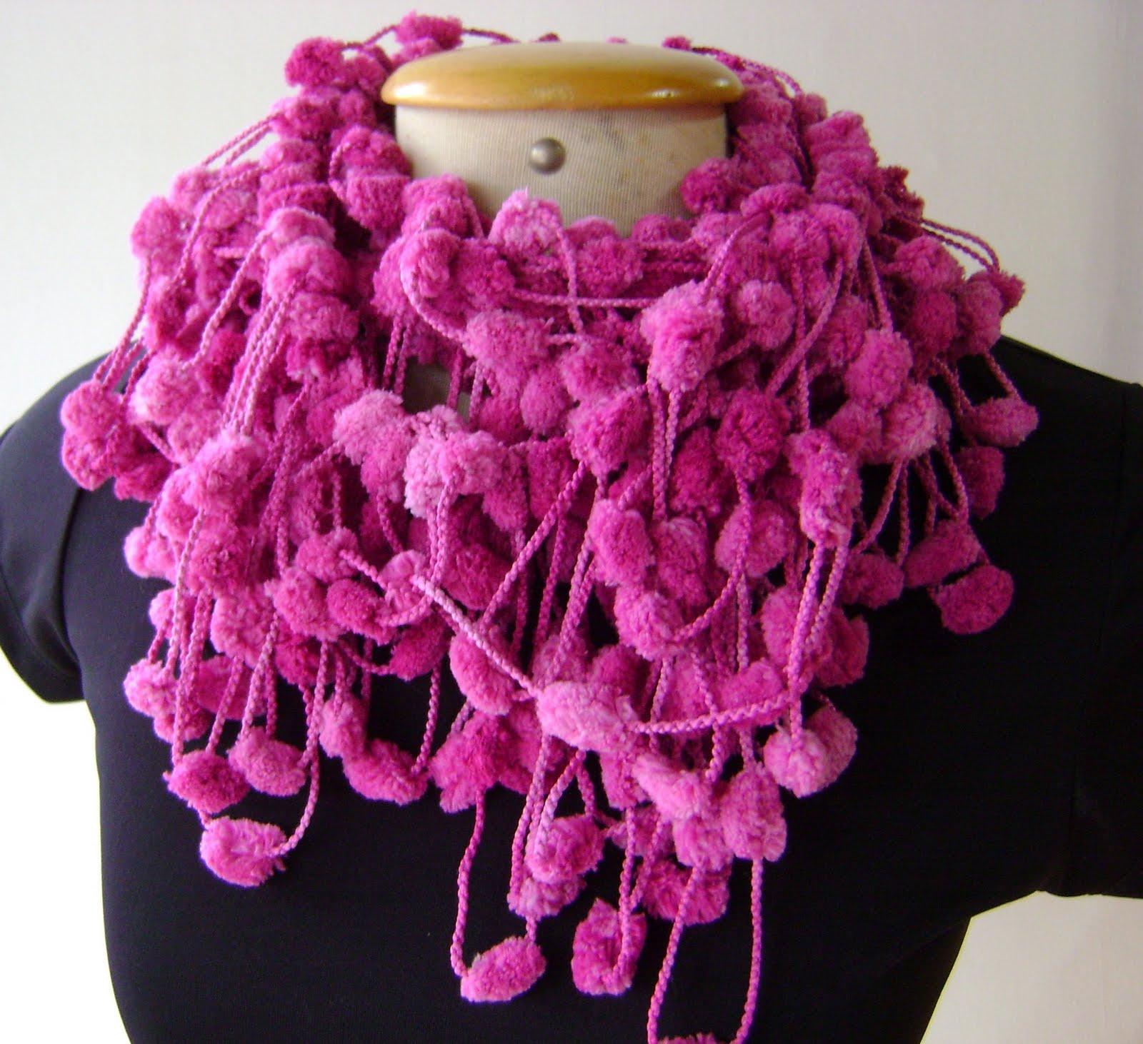 Artes da LU  Cachecol croche lã pompom 4a11128ff5e