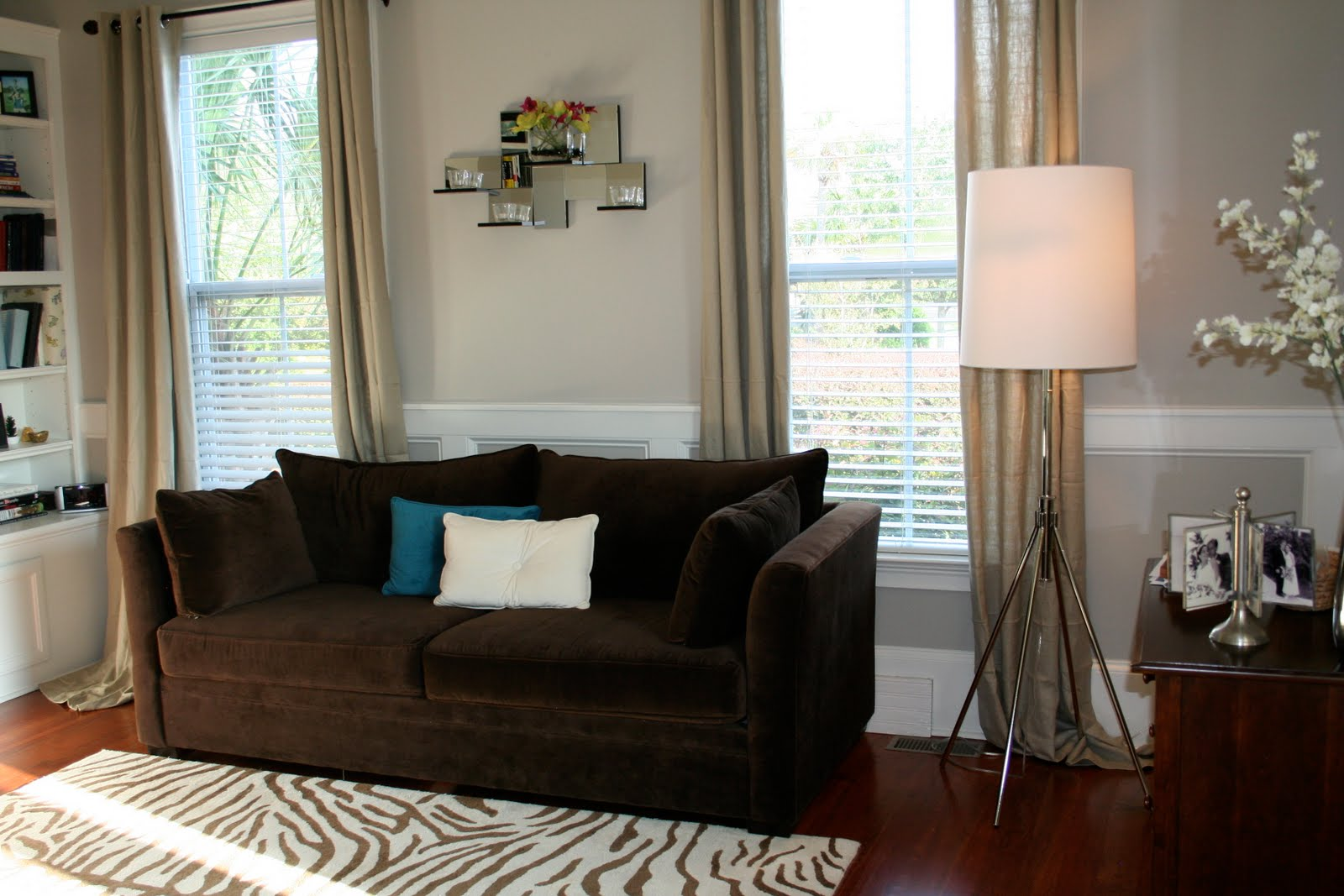 what color curtain goes with dark brown furniture 2 wall