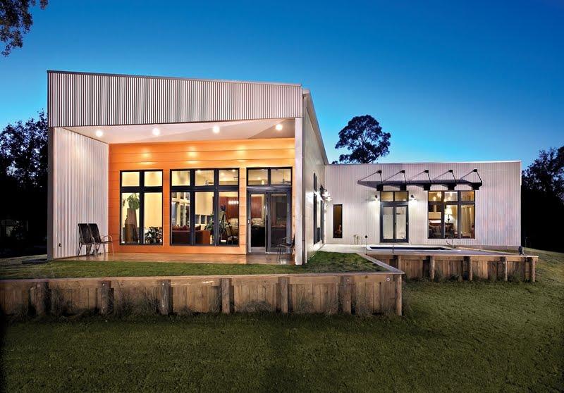 Arquitectura de casas residencia contempor nea cubierta for Casas de chapa para jardin