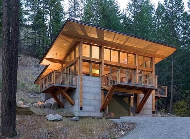 Perspectiva de cabaña de bloques de concreto y módulos de madera en Estados Unidos