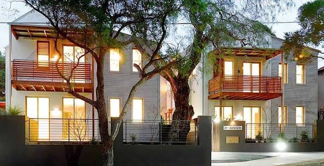 Arquitectura de Casas: Viviendas suburbanas de madera y cubiertas de ...