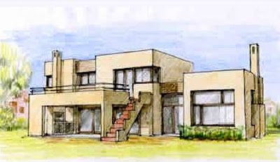 Dibujo de casa de estilo Racionalista