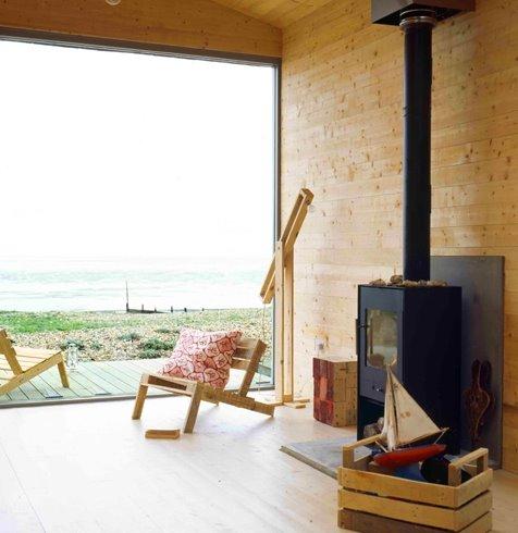Espacio con sala de estar en la cabaña de playa inglesa