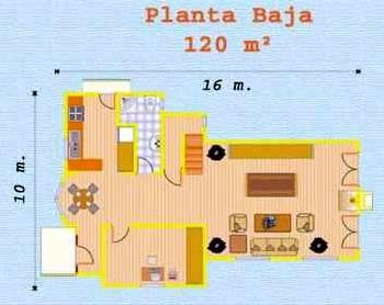 Plano planta baja de la casa chalé de madera