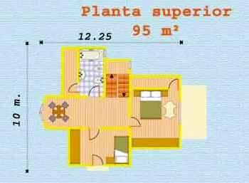 Plano planta superior del chalé americano construido en España