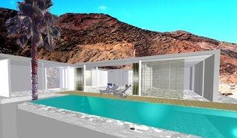 Render de proyecto de casas mellizas en Lanzarote