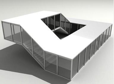 Casa moderna de circulación contínua modelo digitalizado
