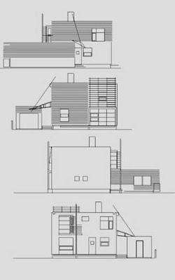Plano de arquitectura alzadas del proyecto de casa cúbica