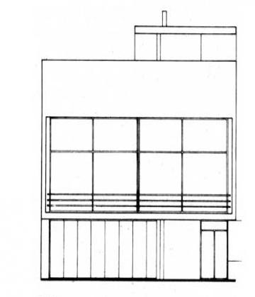 Plano de la fachada a la calle de una casa Moderna