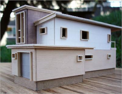 Maqueta de casa de madera prefabricada de origen canadiense