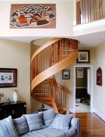 Arquitectura de casas escalera de madera espiral - Escalera en espiral ...