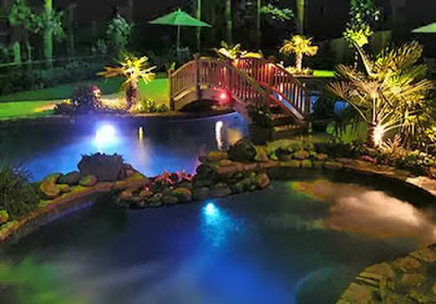 Jardín + lago + luz